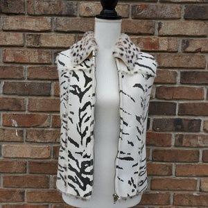 Lisa International Reversible zebra Print Vest